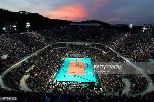 A general view of the FIVB Volleyball World League match between Italy and Brazil at Foro Italico on June 19 2015 in Rome Italy