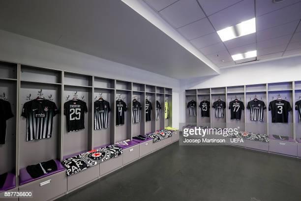 A general view of the FK Partizan Belgrade dressing room during the UEFA Europa League group B match between FC Dynamo Kyiv and FK Partizan Belgrade...