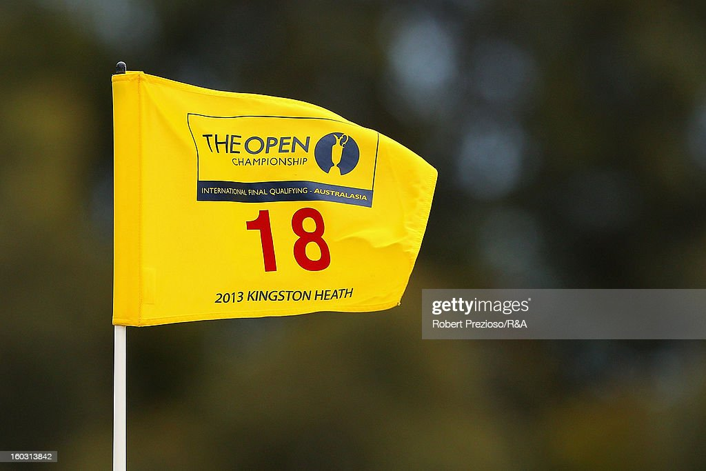 A general view of the flag on the 18th hole during the Open International Final Qualifying Australasia day one at Kingston Heath Golf Club on January 29, 2013 in Melbourne, Australia.