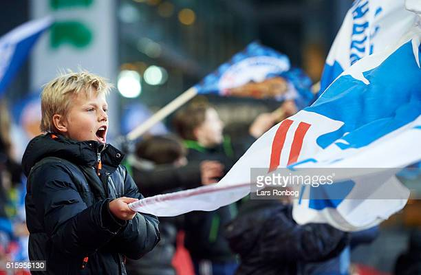 General view of the flags from young fans of FC Copenhagen prior to the Danish DBU Pokalen cup quarterfinal match between FC Copenhagen and Randers...