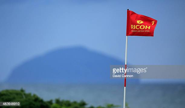 General View of the flagstick on the 1st green during the Third Round of the Ricoh Women's British Open at Turnberry Golf Club on August 1 2015 in...