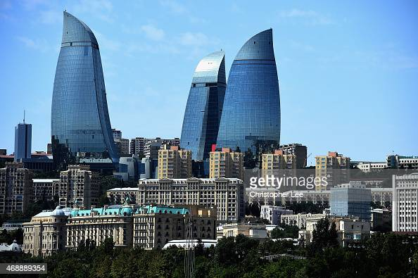 A general view of The Flame Towers in Baku on August 4 2014 in Baku Azerbaijan