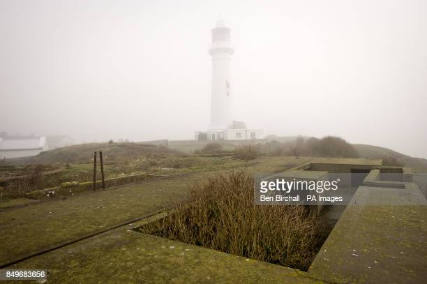 A general view of the Flat Holm Lighthouse which stands 30 m high and 50 m above mean high water on Flat Holm island in the Bristol Channel It has a...
