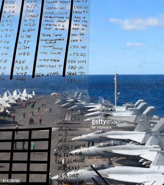 A general view of the flight deck of the USS Ronald Reagan on July 14 2017 in Townsville Australia USS Ronald Reagan is a 1092 foot aircraft carrier...