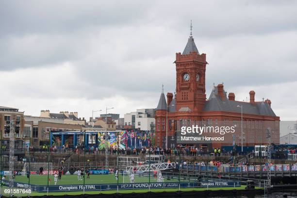 A general view of the floating football pitch and the Pierhead building at the UEFA Champions Festival at Cardiff Bay on June 2 2017 in Cardiff Wales...