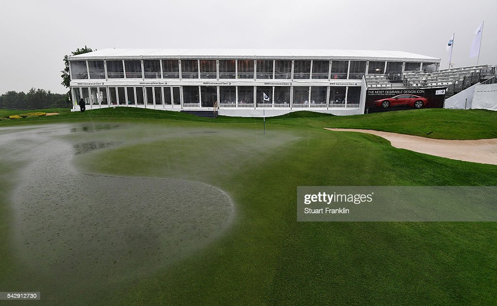 A general view of the flooded 18th green during the suspention of play during the third round of the BMW International Open at Gut Larchenhof on June 25, 2016 in Cologne, Germany.