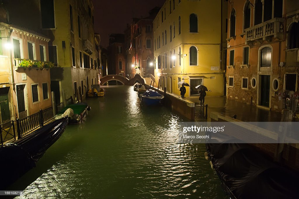 A general view of the flooded city centre of Venice just after midnight and with water level around 140cm on November 1, 2012 in Venice, Italy. More than 59% of Venice has been been left flooded, after the historic town was hit by exceptionally high tides. The sea level rose above 140cm overnight was expected to remain above critical levels for about 15 hours.
