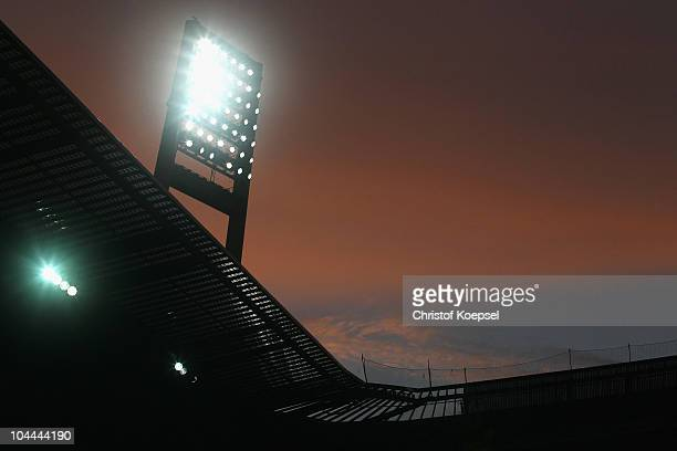 General view of the floodlight of the Weser stadium during the Bundesliga match between Werder Bremen and Hamburger SV at the Weser Stadium on...
