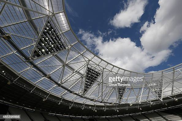 A general view of the floodlights inside the Olympic Stadium during a kicking session for the Barbarians players at the Olympic Stadium on August 27...