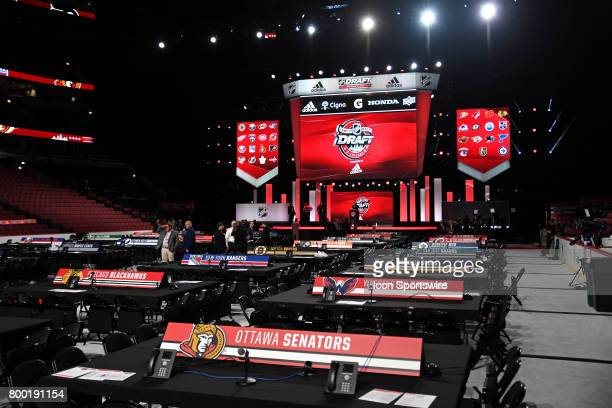 A general view of the floor prior to the first round of the 2017 NHL Draft on June 23 at the United Center in Chicago IL
