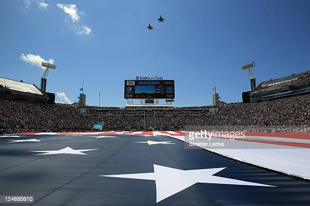 A general view of the flyover ahead of the Tennessee Titans versus Jacksonville Jaguars during their season opener at EverBank Field on September 11...