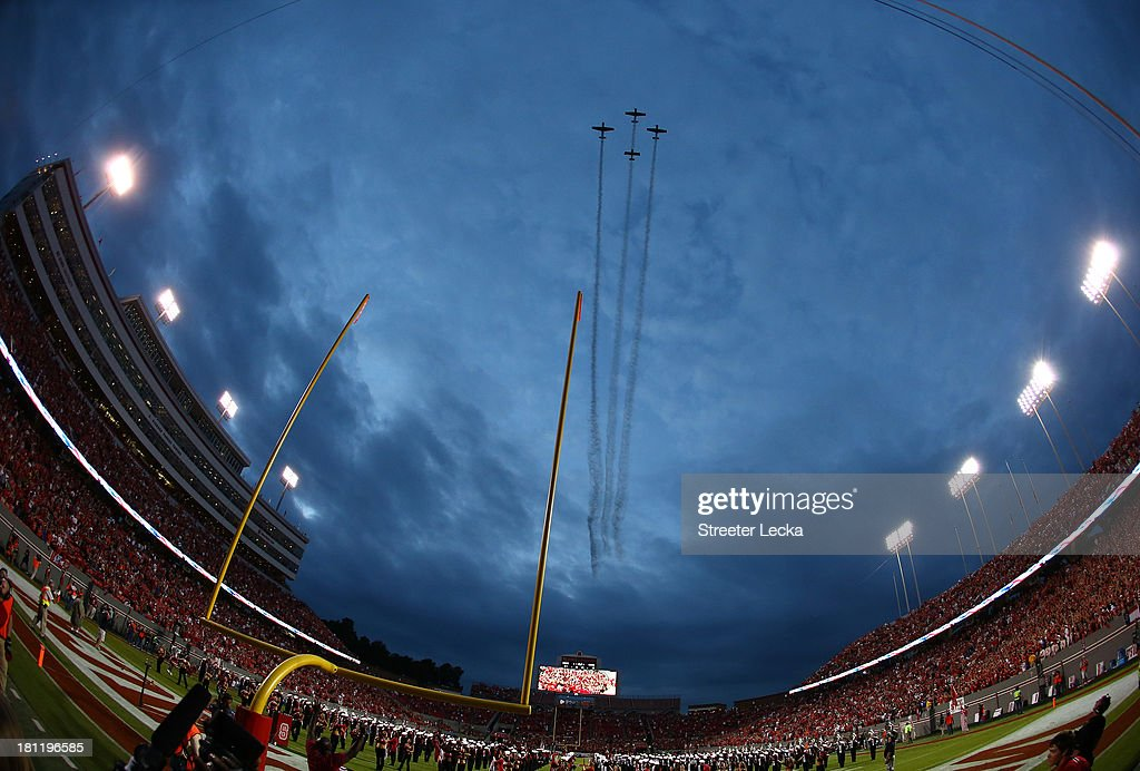 A general view of the flyover before the game between the North Carolina State Wolfpack and Clemson Tigers at Carter-Finley Stadium on September 19, 2013 in Raleigh, North Carolina.
