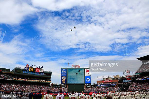 A general view of the flyover prior to the game between the Atlanta Braves and the Detroit Tigers at Turner Field on October 2 2016 in Atlanta Georgia