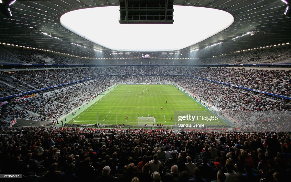 General view of the football stadium during an exhibition match between the traditional teams of 1860 Munich and Bayern Munich at the Allianz Arena...