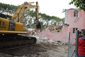 A general view of the former Miami Beach home of the late Colombian drug lord Pablo Escobar as it is demolished on January 19 2016 in Miami Beach...