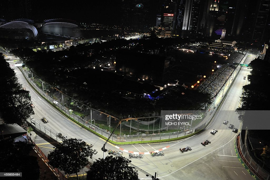 A general view of the Formula One Singapore Grand Prix at the Marina Bay street circuit on September 21 2014 AFP PHOTO /MOHD FYROL