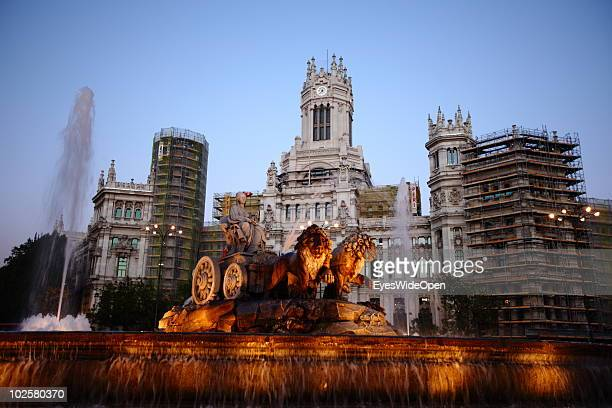 A general view of the Fountain Fuente de Cibeles with godess Kybele at night at Plaza de la Cibeles in Madrid on May 20 2010 in Madrid Spain Madrid...