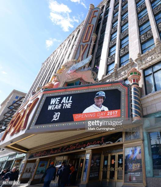 A general view of the Fox Theatre across the street from Comerica Park prior to the Opening Day game between the Detroit Tigers and the Boston Red...
