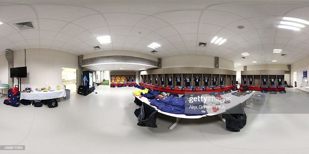A general view of the France dressing room before the 2014 FIFA World Cup Brazil Group E match between France v Honduras at Estadio Beira-Rio on June 15, 2014 in Porto Alegre, Brazil.