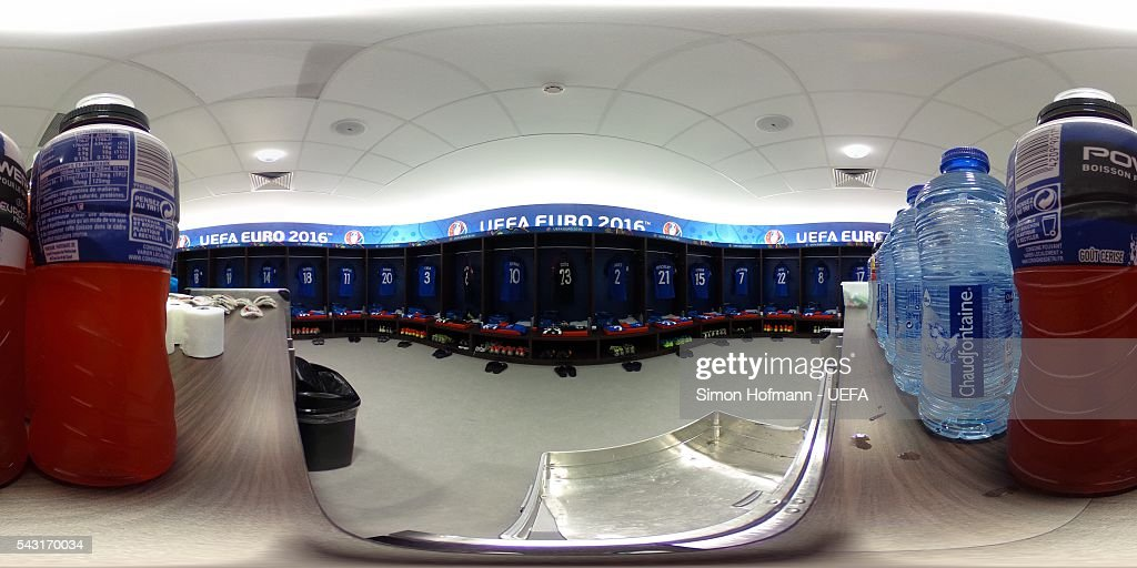 A general view of the France dressing room prior to the UEFA EURO 2016 round of 16 match between France and Republic of Ireland at Stade des Lumieres on June 26, 2016 in Lyon, France.