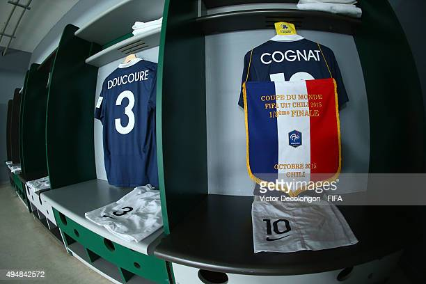 A general view of the France locker room prior to the France v Costa Rica Round of 16 FIFA U17 World Cup Chile 2015 match at Estadio Chinquihue on...