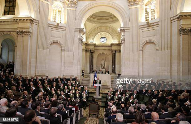General view of the French Academy as French Academician Pierre Mazeaud French gaullist figure delivers a speech on October 7 2008 in Paris at the...
