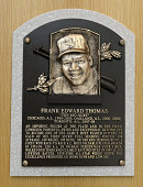 A general view of the freshly installed HOF plaques featuring the 2014 Hall of Fame inductee Frank Thomas on display at the Baseball Hall of Fame and...