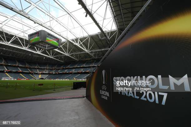 A general view of the Friends Arena Stockholm in Sweden ahead of the Europa League Final against Ajax tomorrow evening