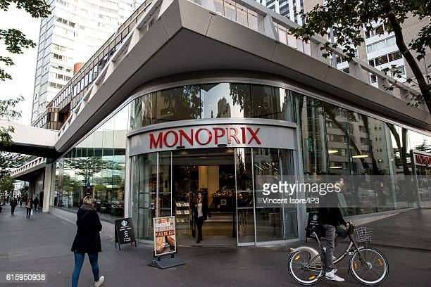 General view of the front of Monoprix Beaugrenelle which inaugurates a new range of Bio signs on October 18 2016 in Paris France