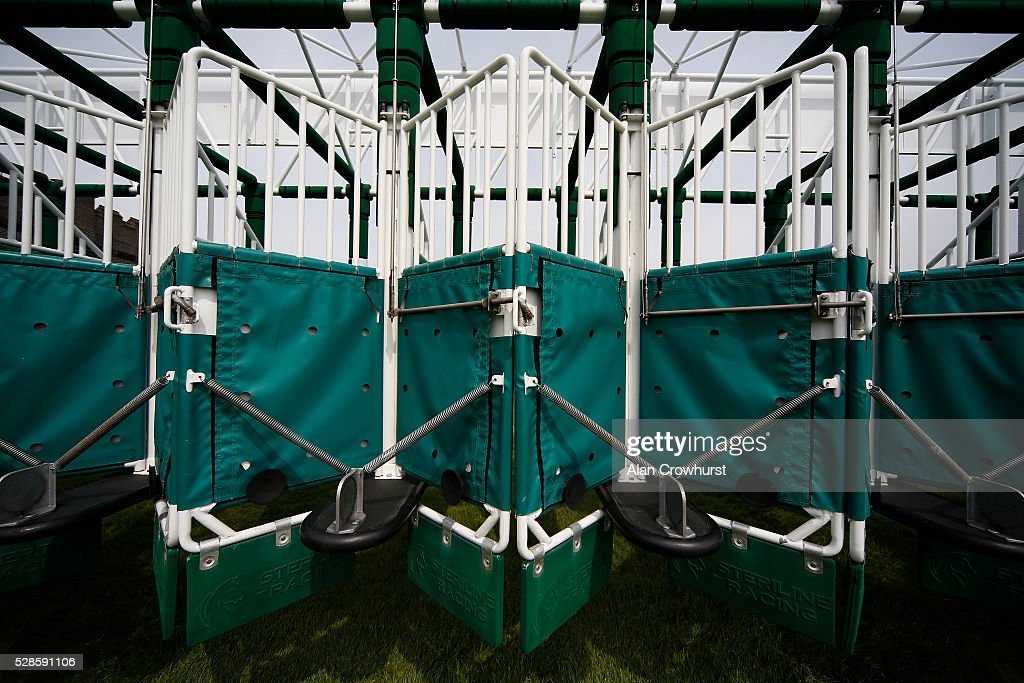 A general view of the front of the starting stalls at Chester racecourse on May 6, 2016 in Chester, England.