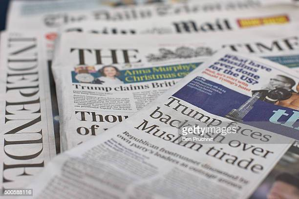 A general view of the front pages of British national newspapers on December 9 2015 in London England The British press reacted to comments by...