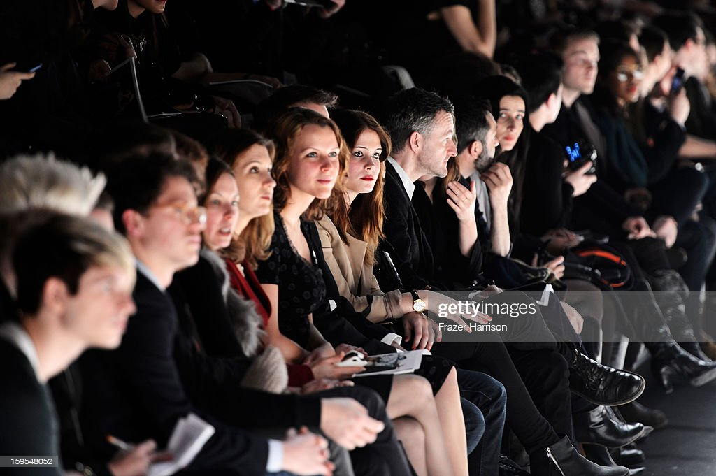 A general view of the front row at the Adelina Ivan, Andra Clitan, Stephan Pelger Autumn/Winter 2013/14 fashion show during Mercedes-Benz Fashion Week Berlin at Brandenburg Gate on January 15, 2013 in Berlin, Germany.