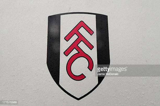 A general view of the Fulham crest ahead of the Barclays Premier League match between Fulham and Arsenal at Craven Cottage on August 24 2013 in...
