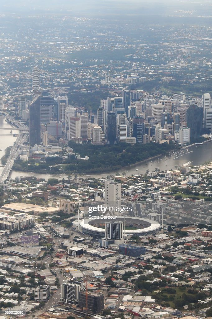 A general view of The Gabba and the Brisbane city skyline before the round nine AFL match between the Brisbane Lions and the Adelaide Crows at The Gabba on May 20, 2017 in Brisbane, Australia.