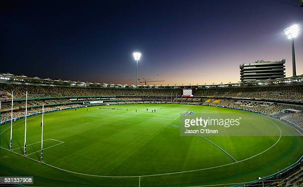 A general view of the Gabba before the round eight AFL match between the Brisbane Lions and the Collingwood Magpies at The Gabba on May 14 2016 in...