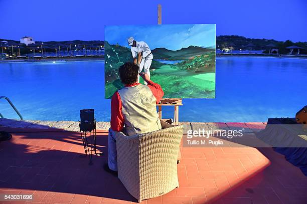 A general view of the Gala Dinner during The Costa Smeralda Invitational golf tournament at Pevero Golf Club Costa Smeralda on June 25 2016 in Olbia...
