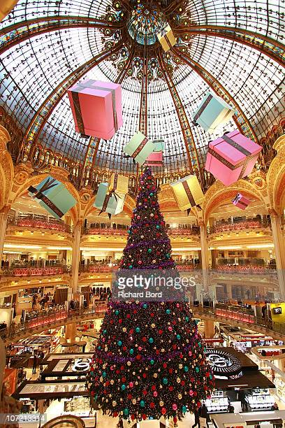 A general view of the Galeries Lafayette dome is seen at Galeries Lafayette on November 30 2010 in Paris France