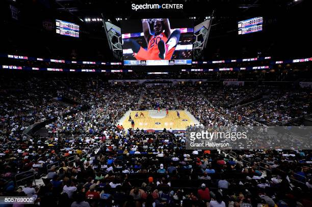 General view of the game between Ghost Ballers and 3's Company during week two of the BIG3 three on three basketball league at Spectrum Center on...
