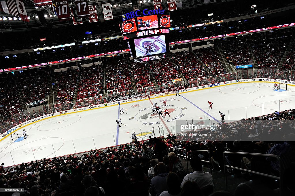 General view of the game between the Anaheim Ducks and the Carolina Hurricanes at the RBC Center on February 23, 2012 in Raleigh, North Carolina. Anaheim won 3-2 in a shootout.