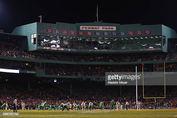 A general view of the game between the Boston College Eagles and the Notre Dame Fighting Irish at Fenway Park on November 21 2015 in Boston...