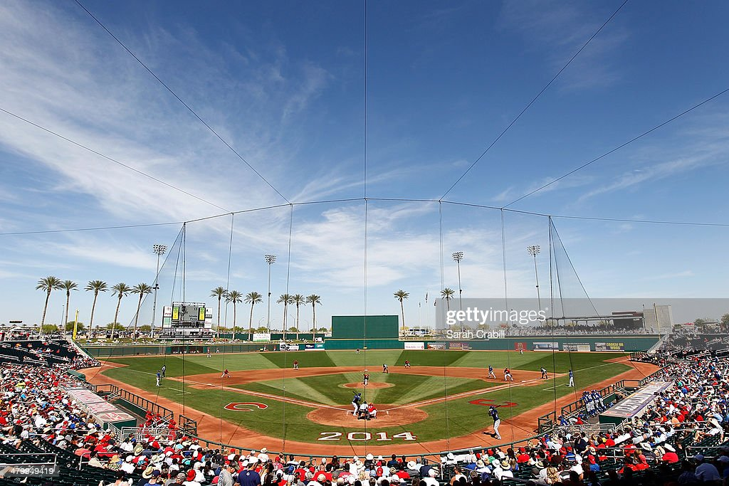A general view of the game between the Cincinnati Reds and the Kansas City Royals at Goodyear Ballpark on March 21 2014 in Goodyear Arizona
