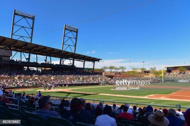 General view of the game between the Colorado Rockies and Arizona Diamondbacks at Salt River Fields at Talking Stick on February 25 2017 in...