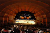 General view of the game between the New York Liberty and the Detroit Shock on July 24 2004 at Radio City Music Hall the temporary home of the...
