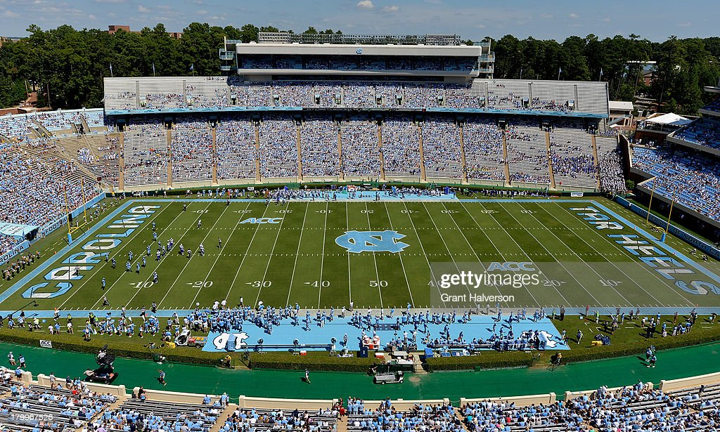 General view of the game between the North Carolina Tar Heels and the Middle Tennessee State Blue Raiders during play at Kenan Stadium on September 7, 2013 in Chapel Hill, North Carolina. North Carolina won 40-20.