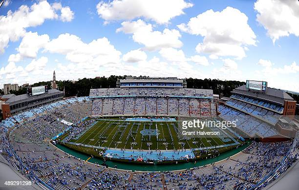 General view of the game between the North Carolina Tar Heels and the Illinois Fighting Illini at Kenan Stadium on September 19 2015 in Chapel Hill...