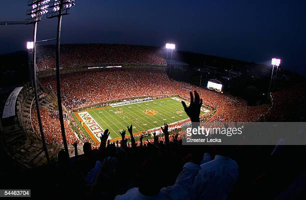A general view of the game between the Texas AM Aggies and Clemson Tigers at Clemson Memorial Stadium on September 3 2005 in Clemson South Carolina
