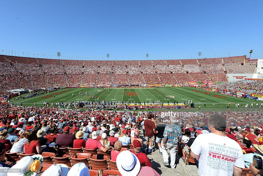 General view of the game between the Utah State Aggies and the USC Trojans at the Los Angeles Memorial Coliseum on September 21, 2013 in Los Angeles, California.