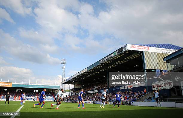 A general view of the game during the Sky Bet League One match between Oldham Athletic and Shrewsbury Town at Boundary Park on August 22 2015 in...