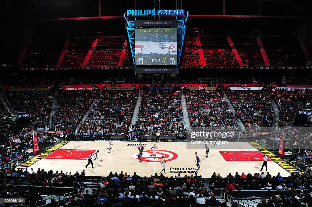 A general view of the gamebetween the Orlando Magic and the Atlanta Hawks on February 8, 2016 at Philips Arena in Atlanta, Georgia.