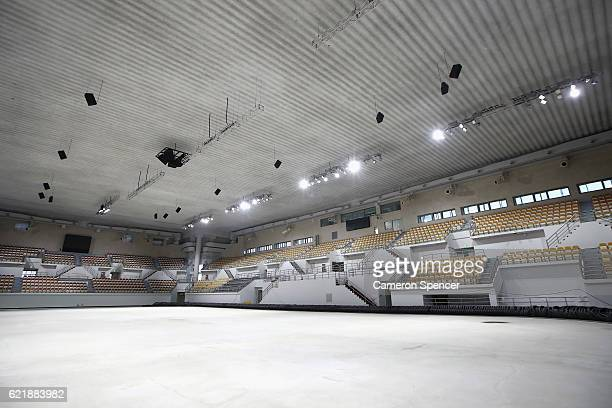 A general view of the Gangneung Curling Centre located in the Gangneung Coastal Cluster ahead of the 2018 PyeongChang Winter Olympics on November 9...